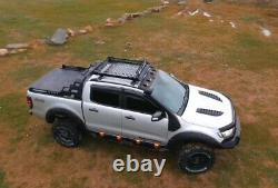 AQM4WD Heavy Duty Metal Cargo Roof Rack Basket In Black Ford Ranger