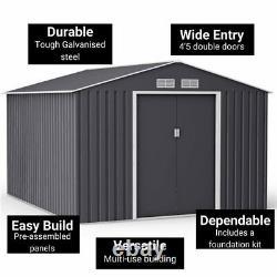 BillyOh Ranger Apex Dark Grey Metal Garden Storage Shed With Foundation Kit
