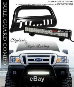 Black Hd Bull Bar Bumper Grille Guard+120W CREE LED Light For 98-11 Ford Ranger