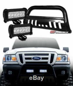 Black Hd Bull Bar Bumper Grille Guard+36W CREE LED Lights For 98-11 Ford Ranger
