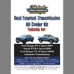 Dual Heavy Duty Transmission Oil Cooler Kit to suit Ford Ranger with 10R80 10