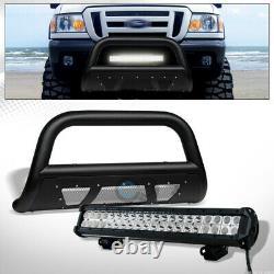 Fit 98-11 Ford Ranger Textured Blk Studded Mesh Bull Bar+120W LED Fog Light