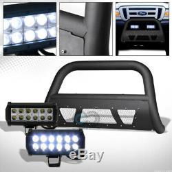 Fit 98-11 Ranger Matte Black Studded Mesh Bull Bar Guard+36W LED Fog Lights