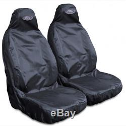 For Ford Ranger Wildtrack Heavy Duty Black Waterproof Car Seat Covers 2 x Fronts