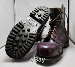 Heavy-duty, Purple Leather, Steel-toe Rangers Boots, Made in England, Size 4UK