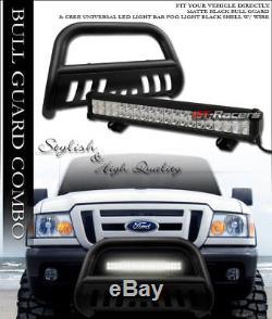 Matte Blk Hd Bull Bar Push Brush Guard+120W Cree Led Fog Light 98-11 Ford Ranger