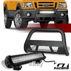 Matte Blk Studded Mesh Bull Bar Guard+120W CREE LED Light For 98-11 Ford Ranger