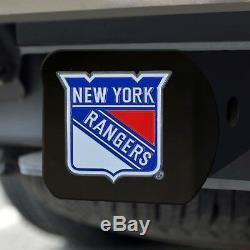 New York Rangers Heavy Duty 3-D Color Emblem Black Chrome Metal Hitch Cover