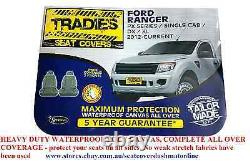 Tradies Heavy Duty Canvas Seat Cover Fit Ford Ranger Single Cab DX / XL 2012- On